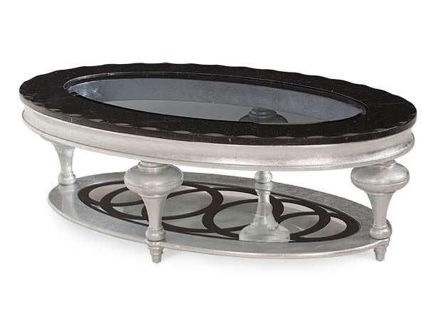 Hollywood Swank Oval Cocktail Table - Black Onyx by Aico