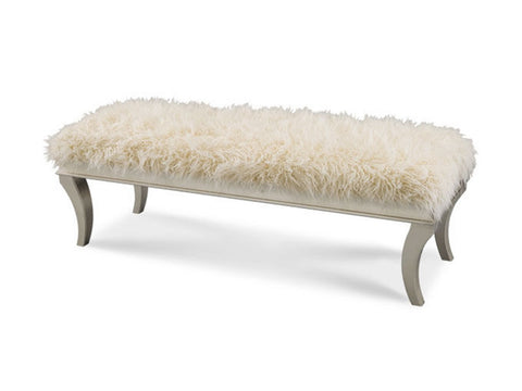 Hollywood Swank Bed Bench - Platinum by Aico