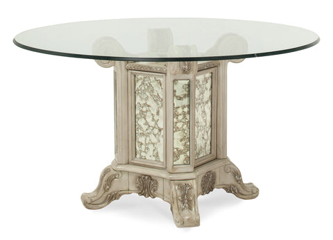 "Platine de Royale 54"" Round Glass Top Dining Table - Champagne Finish by Aico"