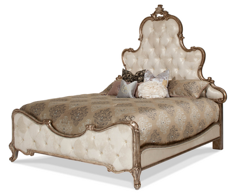 Platine de Royale Cal King Panel Bed - Antique Platinum Finish by Aico
