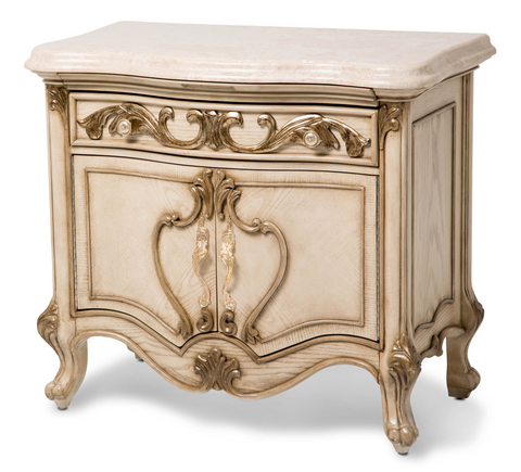 Platine de Royale Nightstand - Champagne Finish by Aico