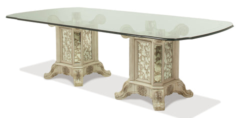 "Platine de Royale 102"" Rectangular Glass Top Dining Table - Champagne Finish by Aico"