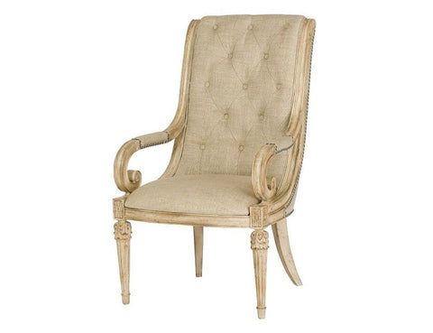Jessica McClintock Upholstered Arm Chair (Set of 2) in White Veil Finish by American Drew