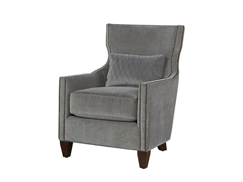 Barrister Chair in Grey Cloud Velvet by Universal