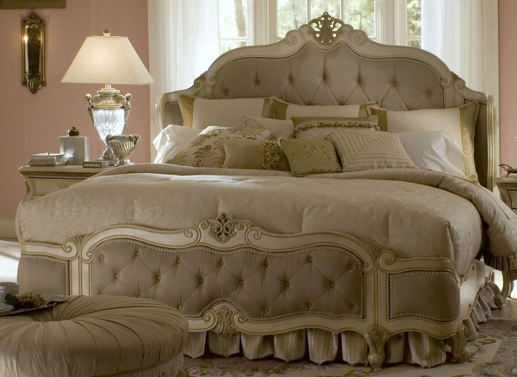 Lavelle King Wing Mansion Bed - Blanc Finish by Aico