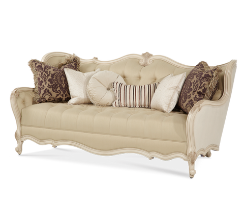 Lavelle Wood Trim Tufted Sofa - Blanc Finish by Aico