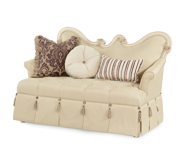 Lavelle Bergere Wood Trim Settee - Blanc Finish by Aico