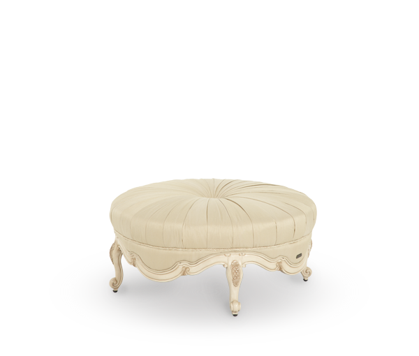 Lavelle Bergere Wood Trim Round Cocktail Ottoman - Blanc Finish by Aico
