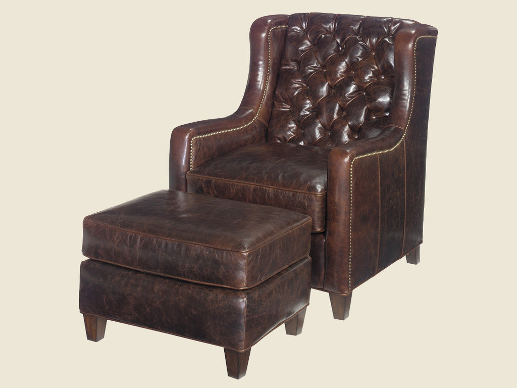 Gibson Leather Chair & Ottoman by Lexington