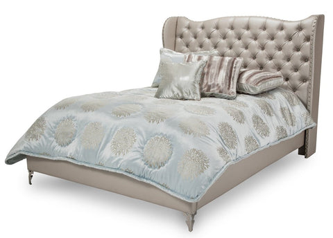 Hollywood Loft Cal King Upholstered Platform Bed - Frost Finish