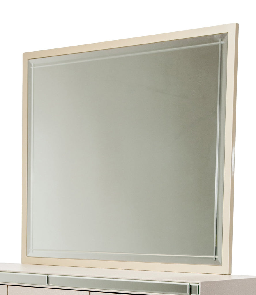 Hollywood Loft Rectangular Dresser Mirror - Pearl Finish