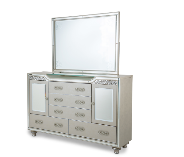Bel Air Park Upholstered Dresser with Mirror by Aico
