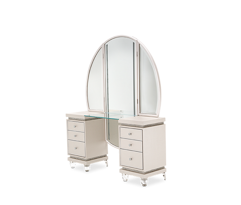 Glimmering Heights Upholstered Vanity w/ Mirror by Aico