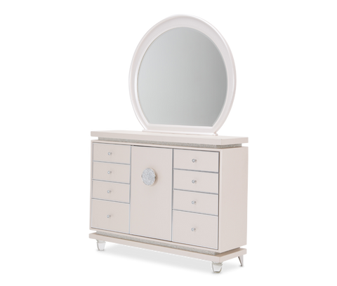 Glimmering Heights Upholstered Dresser w/ Mirror by Aico