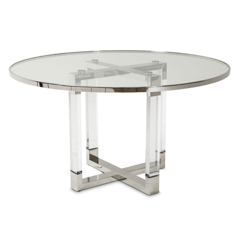STATE ST. Round Dining Table W/Glass Insert (2 Pc)