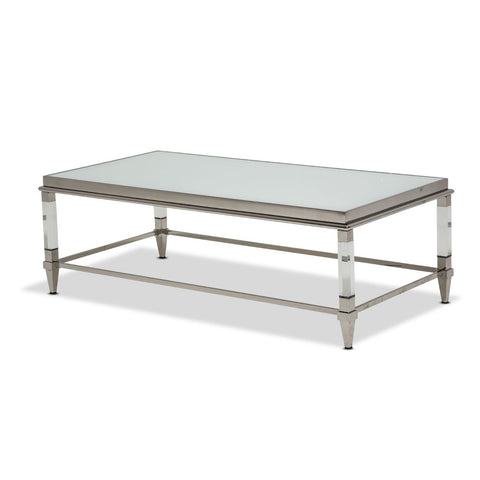 STATE ST. Rectangular Cocktail Table W/Glossy White Glass Top