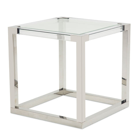 STATE ST. Square End Table (2 Pc) - Stainless Steel Legs