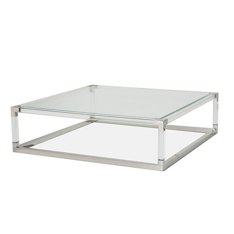 STATE ST. Square Cocktail Table (2 Pc) - Acrylic Legs
