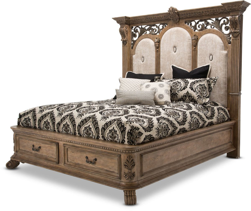 Aico Villa de Como King Bed w/ Drawers in Heritage Finish by Michael Amini