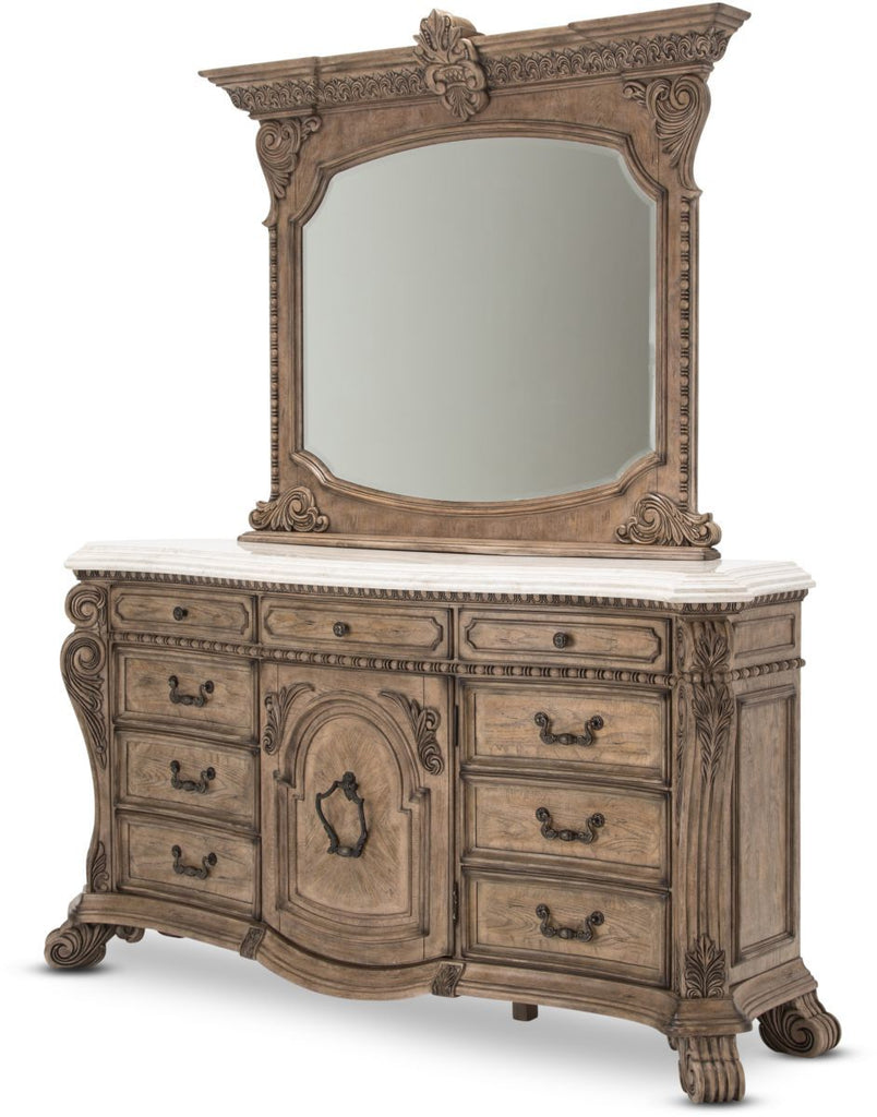 Aico Villa de Como Dresser w/ Mirror in Heritage Finish by Michael Amini
