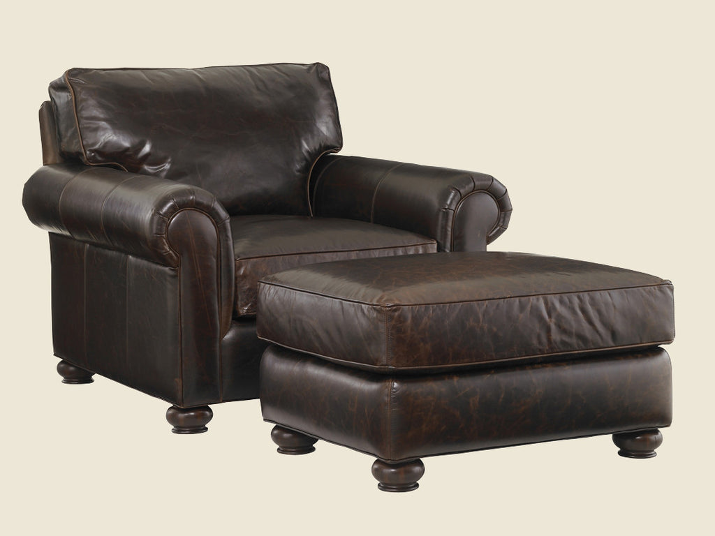 Flanders Leather Ottoman by Lexington