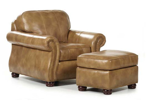 Barrington Leather Chair & Ottoman by Randall Allan