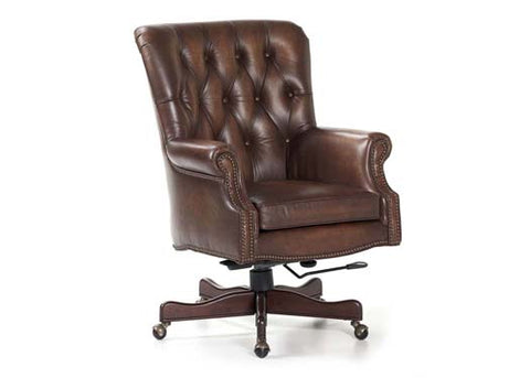 Merchant Leather Swivel Tilt Chair by Randall Allan