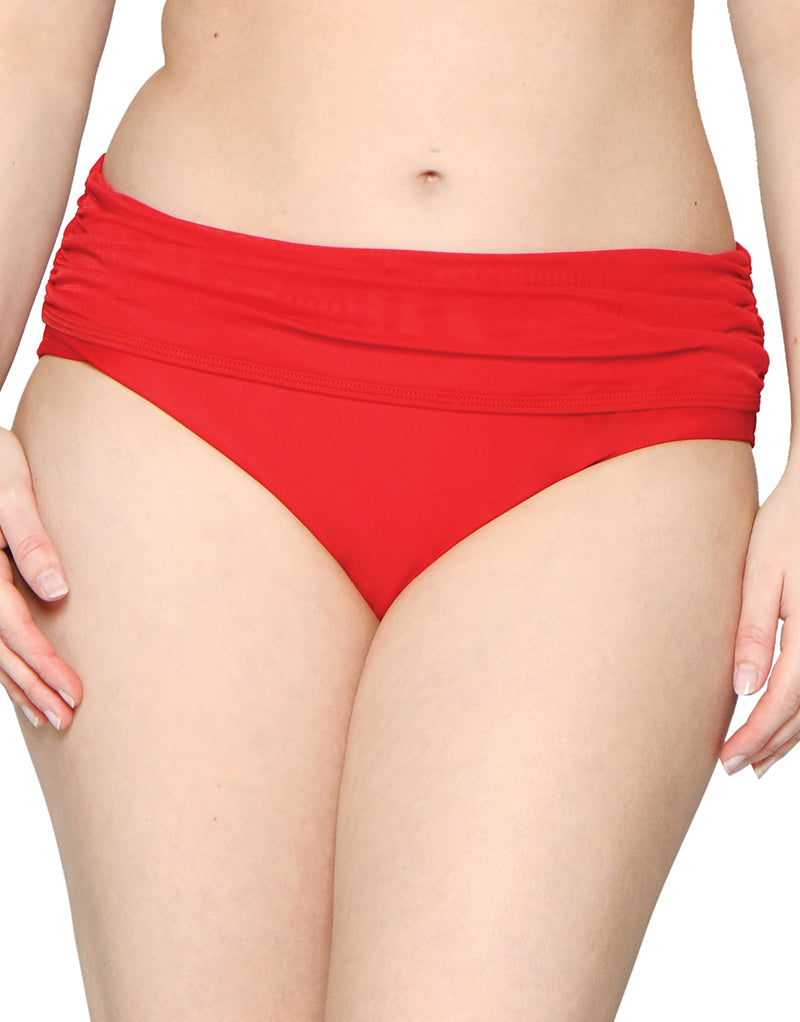 Curvy Kate Sheer Class Deep Fold Brief Red