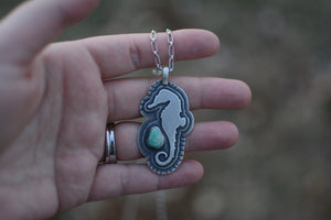 Seahorse + Turquoise Necklace