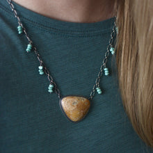 Load image into Gallery viewer, Fossilized Coral + Turquoise Beaded Necklace, Turtle Cutout