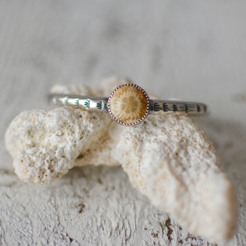 Fossilized Coral Stacking Cuff Bracelet #1