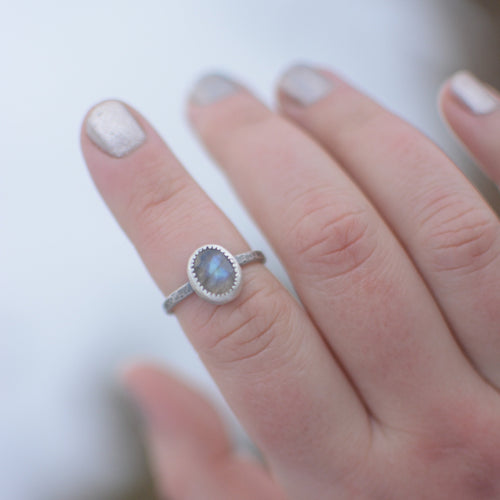 Rose Cut Labradorite Ring - Size 8.5