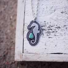 Load image into Gallery viewer, Seahorse + Turquoise Necklace
