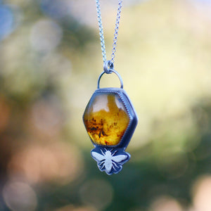 Amber Hexagon + Bee Necklace No.1