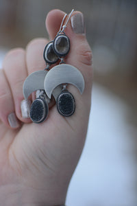 Druzy & Rose Cut Smoky Quartz Crescent Moon Earrings