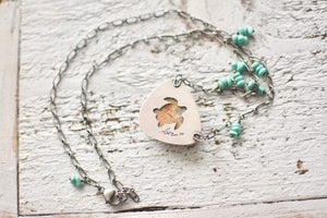 Fossilized Coral + Turquoise Beaded Necklace, Turtle Cutout