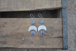 Druzy & Rose Cut Tanzanite Crescent Moon Earrings