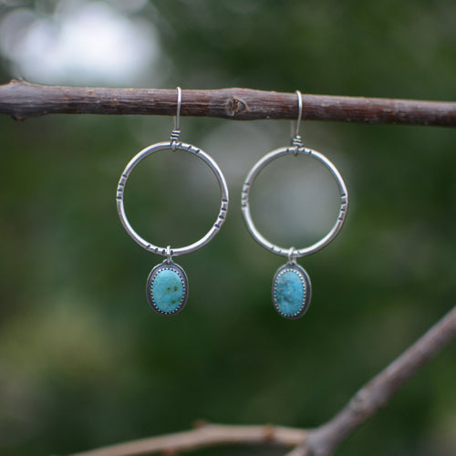 Sonoran Mountain Turquoise Hoop Earrings - No. 8