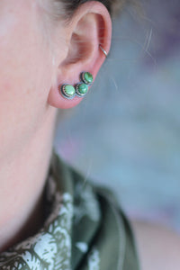 Sonoran Gold Turquoise Ear Climbers - No. 10