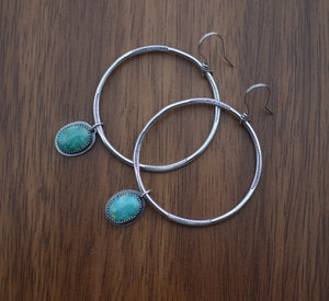 Sonoran Mountain Turquoise Large Hoop Earrings - No. 3