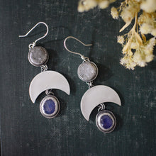 Load image into Gallery viewer, Druzy & Rose Cut Tanzanite Crescent Moon Earrings