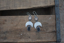 Load image into Gallery viewer, Druzy & Rose Cut Smoky Quartz Crescent Moon Earrings