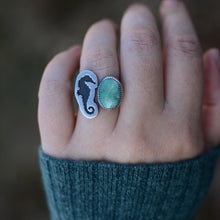 Load image into Gallery viewer, Seahorse + Turquoise Split Shank Ring - Size 8