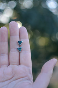 Triangle Hubei Turquoise Stud Earrings