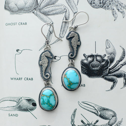 Sonoran Rose Turquoise + Seahorse Earrings