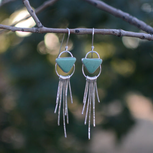 Triangle Kingman Turquoise Fringe Earrings
