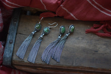 Load image into Gallery viewer, Royston Turquoise + Fringe Earrings