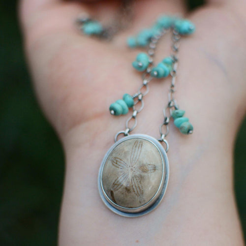 Fossilized Sand Dollar + Turquoise Beaded Necklace
