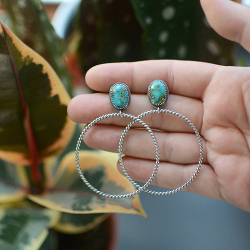 Sonoran Mountain Turquoise Hoop Earrings - No. 6