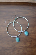 Load image into Gallery viewer, Sonoran Mountain Turquoise Large Hoop Earrings - No. 3